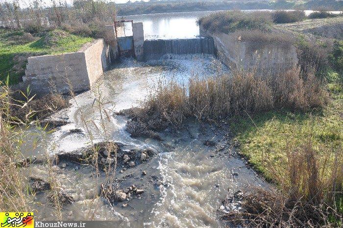 فاضلاب و پساب صنعتی شرکت کشت و صنعت کارون که به رودخانه کارون می ریزد