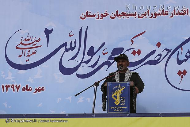 تصاویر / تجمع بزرگ ۳۰۰۰۰هزارنفری ونمایش اقتدارعاشورایی بسیج سپاهیان حضرت محمدرسول الله (ص) در اهواز