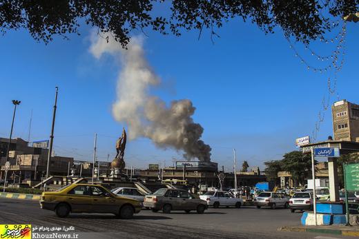 تصاویر / آتش سوزی یک فست فود در اهواز